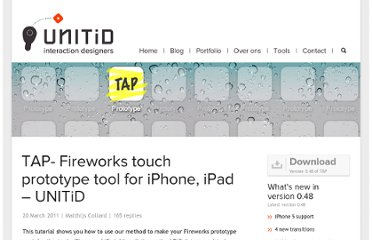 http://unitid.nl/2011/03/touch-application-prototypes-tap-for-iphone-and-ipad-using-adobe-fireworks/