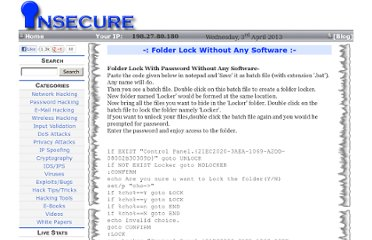 http://www.insecure.in/folder_lock_trick.asp