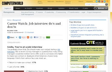 http://www.computerworld.com/s/article/352049/Career_Watch_Job_interview_do_s_and_don_ts