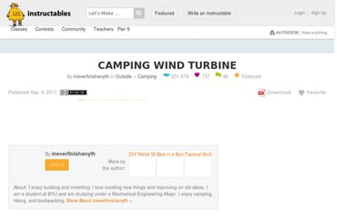 http://www.instructables.com/id/Camping-Wind-Turbine/