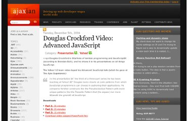 http://ajaxian.com/archives/douglas-crockford-video-advanced-javascript