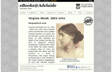 http://ebooks.adelaide.edu.au/w/woolf/virginia/index.html