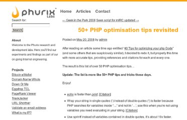 http://labs.phurix.net/posts/50-php-optimisation-tips-revisited