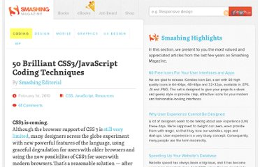 http://coding.smashingmagazine.com/2010/02/01/50-brilliant-css3-javascript-coding-techniques/