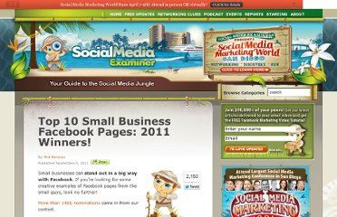 http://www.socialmediaexaminer.com/top-10-small-business-facebook-pages-2011-winners/