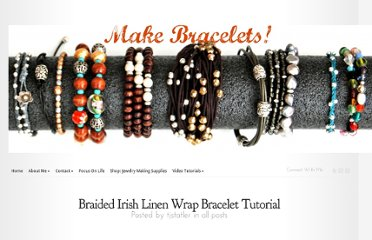 http://makebraceletsblog.com/2011/01/30/braided-irish-linen-wrap-bracelet-tutorial/