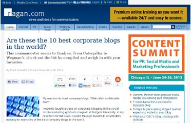http://www.ragan.com/Main/Articles/Are_these_the_10_best_corporate_blogs_in_the_world_42624.aspx