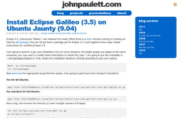 http://johnpaulett.com/2009/06/26/install-eclipse-galileo-3-5-on-ubuntu-jaunty/