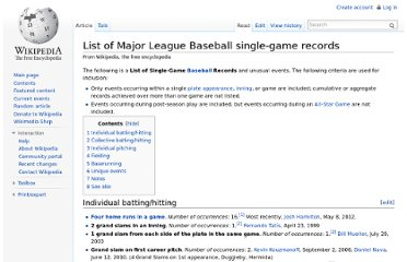 http://en.wikipedia.org/wiki/List_of_Major_League_Baseball_single-game_records