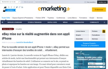 http://www.e-marketing.fr/Breves/eBay-mise-sur-la-realite-augmentee-dans-son-appli-iPhone-37027.htm