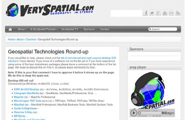 http://veryspatial.com/about/columns/geospatial-technologies-round-up/