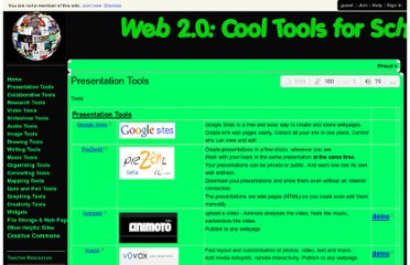 http://cooltoolsforschools.wikispaces.com/Presentation%20Tools