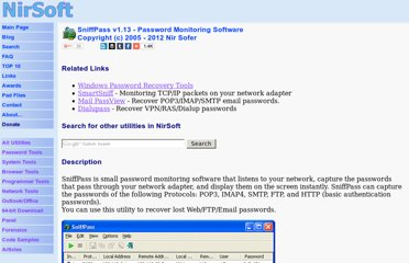 http://www.nirsoft.net/utils/password_sniffer.html