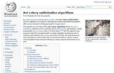 http://en.wikipedia.org/wiki/Ant_colony_optimization_algorithms