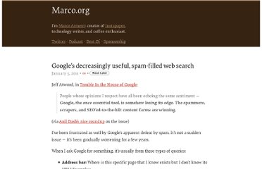 http://www.marco.org/2011/01/05/googles-decreasingly-useful-spam-filled-web-search
