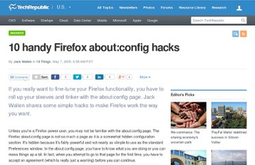 http://www.techrepublic.com/blog/10things/10-handy-firefox-aboutconfig-hacks/719