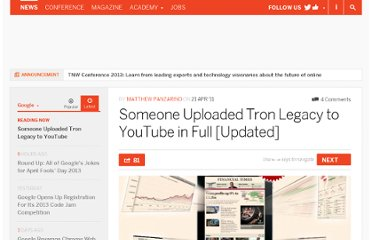 http://thenextweb.com/google/2011/04/21/someone-uploaded-tron-legacy-to-youtube-in-full/