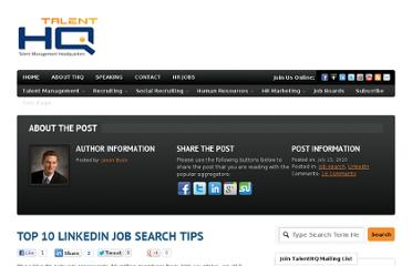 http://www.talenthq.com/2010/07/linkedin-job-search-tips/
