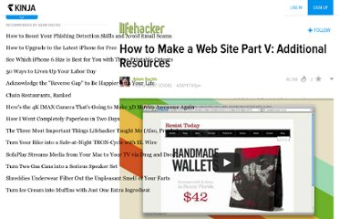 http://lifehacker.com/5790111/how-to-make-a-web-site-part-v-additional-resources