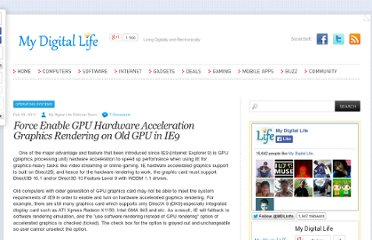 http://www.mydigitallife.info/force-enable-gpu-hardware-acceleration-graphics-rendering-on-old-gpu-in-ie9/