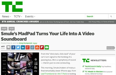 http://techcrunch.com/2011/09/08/smules-madpad-turns-life-into-a-video-soundboard/