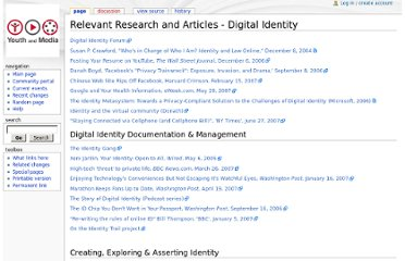 http://youthandmedia.org/wiki/Relevant_Research_and_Articles_-_Digital_Identity