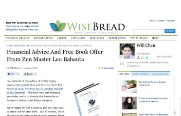 http://www.wisebread.com/financial-advice-and-free-book-offer-from-zen-master-leo-babauta