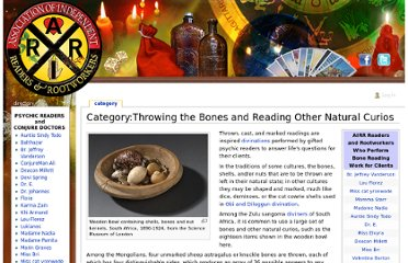 http://www.readersandrootworkers.org/index.php?title=Category:Throwing_the_Bones_and_Reading_Other_Natural_Curios