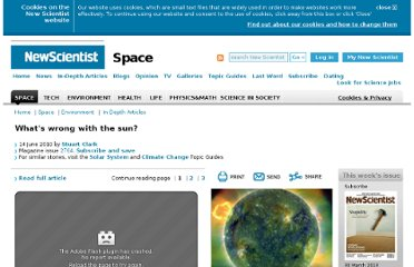 http://www.newscientist.com/article/mg20627640.800-whats-wrong-with-the-sun.html
