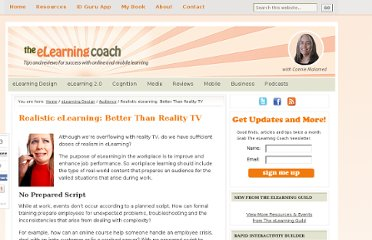 http://theelearningcoach.com/learning/reality-elearning/
