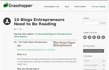 http://grasshopper.com/blog/2009/09/10-blogs-entrepreneurs-need-to-be-reading/