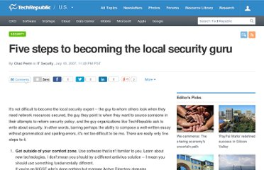 http://www.techrepublic.com/blog/security/five-steps-to-becoming-the-local-security-guru/256