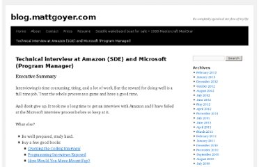 http://blog.mattgoyer.com/technical-interview-at-amazon-sde-and-microsoft-program-manager/