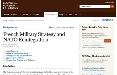 http://www.cfr.org/france/french-military-strategy-nato-reintegration/p16619