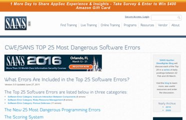 http://www.sans.org/top25-software-errors/