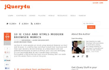 http://www.jquery4u.com/browser-tweaks/10-ie-modern-css3-html5-tips/