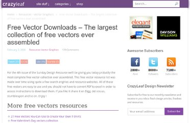 http://www.crazyleafdesign.com/blog/free-vector-downloads-the-largest-collection-of-free-vectors-ever-assembled/