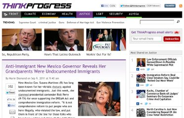 http://thinkprogress.org/justice/2011/09/09/315336/anti-immigrant-new-mexico-gov-reveals-her-grandparents-were-undocumented-immigrants/