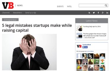 http://venturebeat.com/2010/06/07/5-legal-mistakes-startups-make-while-raising-capital/