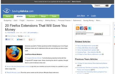 http://www.savingadvice.com/articles/2007/06/14/101541_20-firefox-extensions-that-will-save-you-money.html