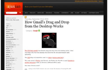 http://ajaxian.com/archives/how-gmails-drag-and-drop-from-the-desktop-works
