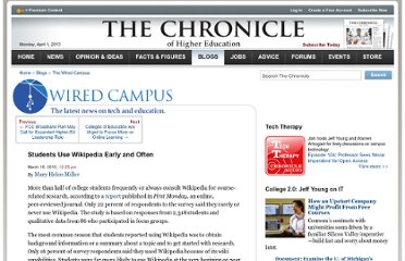 http://chronicle.com/blogs/wiredcampus/students-use-wikipedia-earlyoften/21850