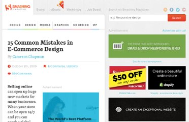 http://uxdesign.smashingmagazine.com/2009/10/08/15-common-mistakes-in-e-commerce-design-and-how-to-avoid-them/