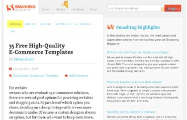 http://coding.smashingmagazine.com/2009/01/25/35-free-high-quality-e-commerce-templates/