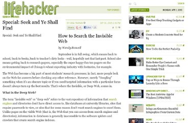 http://lifehacker.com/128317/special--seek-and-ye-shall-find