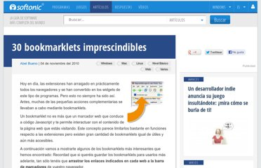 http://onsoftware.softonic.com/30-bookmarklets-imprescindibles