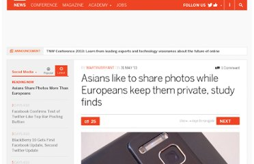 http://thenextweb.com/socialmedia/2011/05/31/asians-like-to-share-photos-while-europeans-keep-them-private-study-finds/