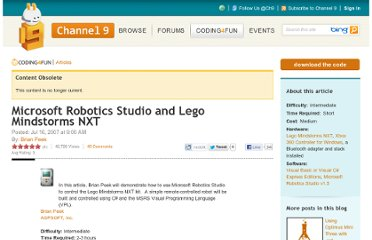 http://channel9.msdn.com/coding4fun/articles/Microsoft-Robotics-Studio-and-Lego-Mindstorms-NXT