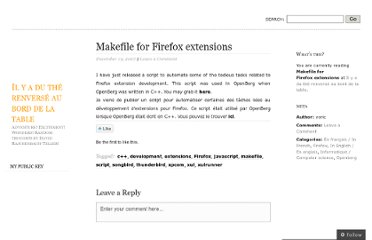 http://dutherenverseauborddelatable.wordpress.com/2007/12/19/makefile-for-firefox-extensions/