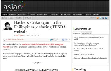 http://asiancorrespondent.com/27356/hackers-strike-again-in-the-philippines-defacing-tesda-website-2/